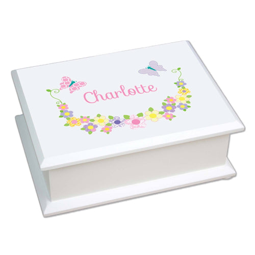 Personalized Lift Top Jewelry Box with Pastel Butterflies design
