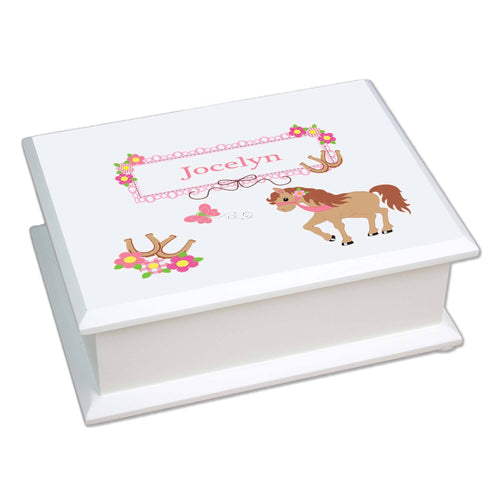 Personalized Lift Top Jewelry Box with Ponies Prancing design