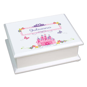 Personalized Lift Top Jewelry Box with Princess Castle design
