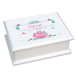 Personalized Lift Top Jewelry Box with Pink Teal Princess Castle design