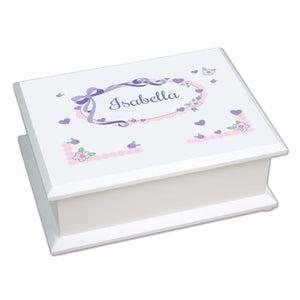 Personalized Lift Top Jewelry Box with Lacey Bow design