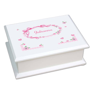 Personalized Lift Top Jewelry Box with Pink Bow design