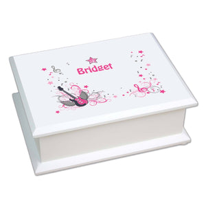 Personalized Lift Top Jewelry Box with Pink Rock Star design