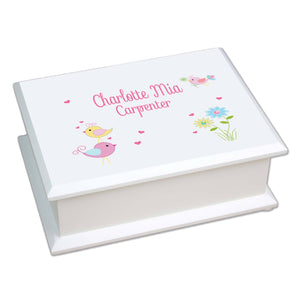Personalized Lift Top Jewelry Box with Lovely Birds design