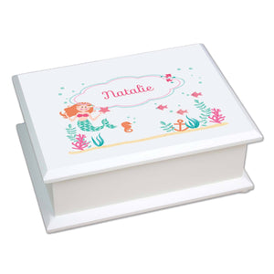 Personalized Lift Top Jewelry Box with Mermaid Princess design