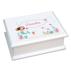 Personalized Lift Top Jewelry Box with Brunette Mermaid Princess design