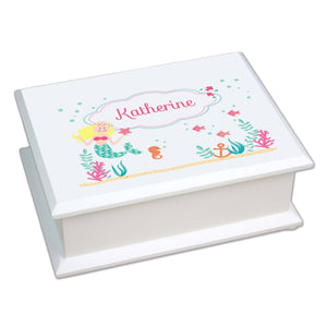 Personalized Lift Top Jewelry Box with Blonde Mermaid Princess design