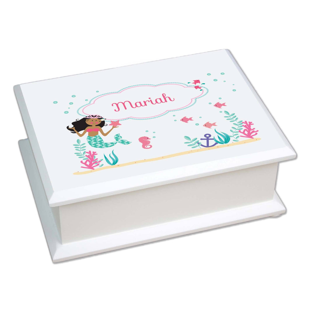 Personalized Lift Top Jewelry Box with African American Mermaid Princess design