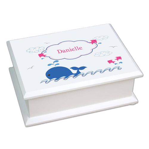 Personalized Lift Top Jewelry Box with Pink Whale design