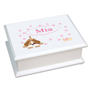 Personalized Lift Top Jewelry Box with Pink Puppy design