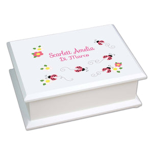 Personalized Lift Top Jewelry Box with Pink Ladybugs design