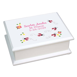 Lift Top Jewelry Box - Pink Ladybugs