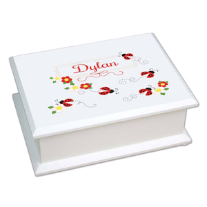 Personalized Lift Top Jewelry Box with Red Ladybugs design