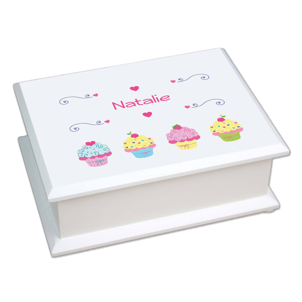 Personalized Lift Top Jewelry Box with Cupcake design