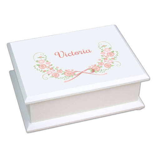 Personalized Lift Top Jewelry Box with Blush Floral Garland design