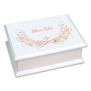 Personalized Lift Top Jewelry Box with Hc Blush Floral Garland design
