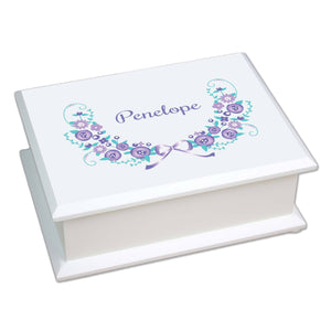 Personalized Girls lavender Cross Jewelry Box