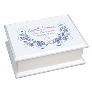 Lift Top Jewelry Box - Lavender Floral Cross