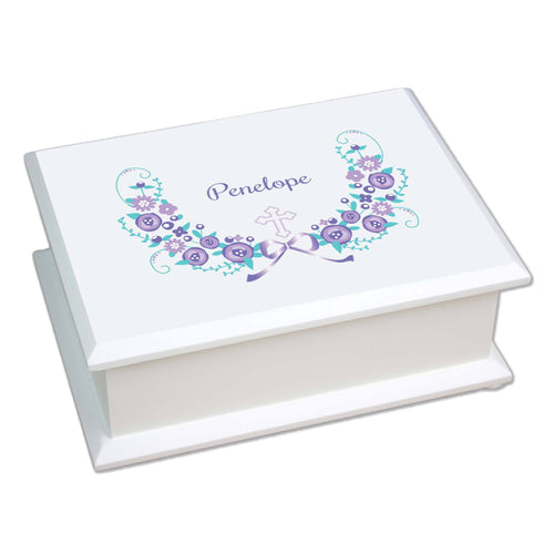 Personalized Lift Top Jewelry Box with Hc Lavender Floral Garland design