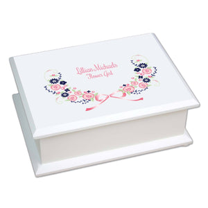 Personalized Lift Top Jewelry Box with Navy Pink Floral Garland design