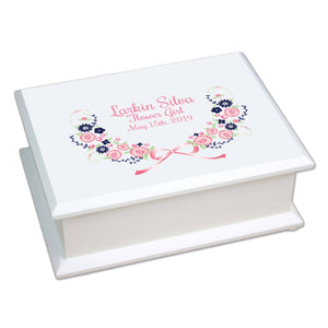 Lift Top Jewelry Box - Navy Pink Floral Garland