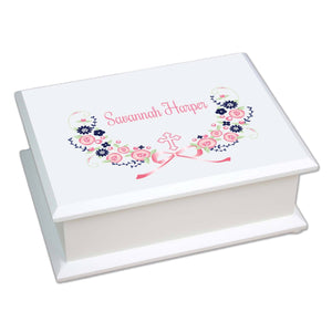 Personalized Lift Top Jewelry Box with Hc Navy Pink Floral Garland design