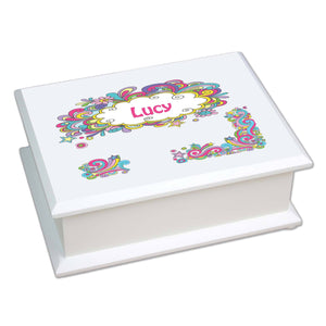 Personalized Lift Top Jewelry Box with Groovy Swirl design