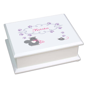 Personalized Lift Top Jewelry Box with Kitty Cat design
