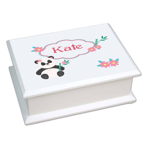 Personalized Lift Top Jewelry Box with Panda Bear design
