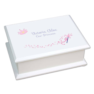 Personalized Lift Top Jewelry Box with Fairy Princess design