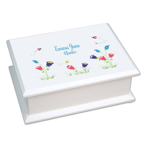 Personalized Lift Top Jewelry Box with English Garden design
