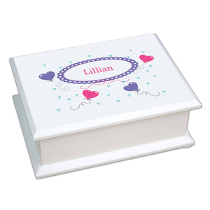 Personalized Lift Top Jewelry Box with Heart Balloons design