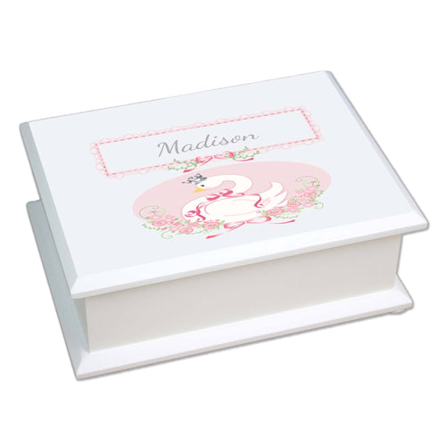 Personalized Lift Top Jewelry Box with Swan design