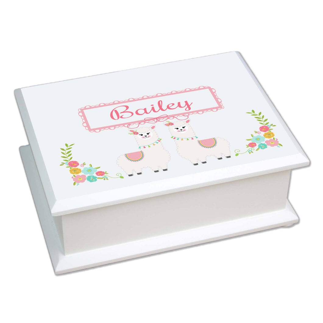 Personalized Lift Top Jewelry Box with Alpaca Llama design