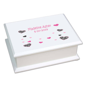 Personalized Lift Top Jewelry Box with Groovy Zebra design