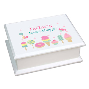 Personalized Lift Top Jewelry Box with Sweet Treats design