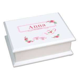 Personalized Lift Top Jewelry Box with Tea Party design
