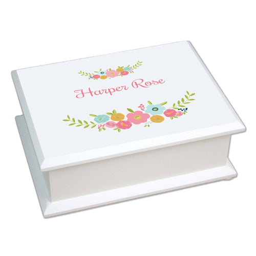 Personalized Lift Top Jewelry Box with Spring Floral design