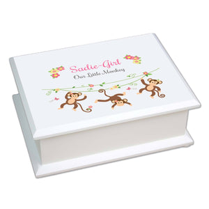 Personalized Lift Top Jewelry Box with Monkey Girl design