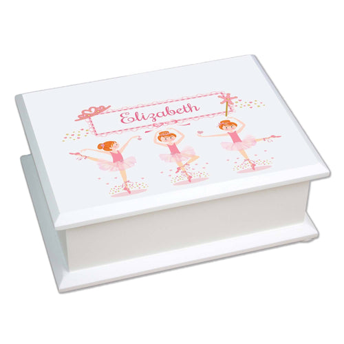 Personalized Lift Top Jewelry Box with Ballerina Red Hair design
