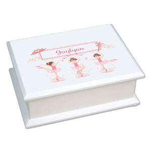Personalized Lift Top Jewelry Box with Ballerina Brunette design