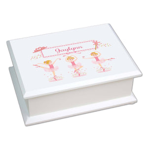Personalized Lift Top Jewelry Box with Ballerina Blonde design