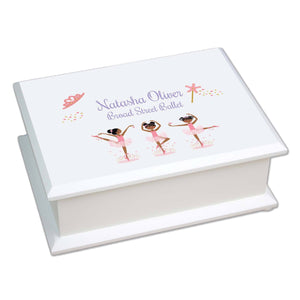 Personalized African American Ballerina Lift Top Jewelry Box