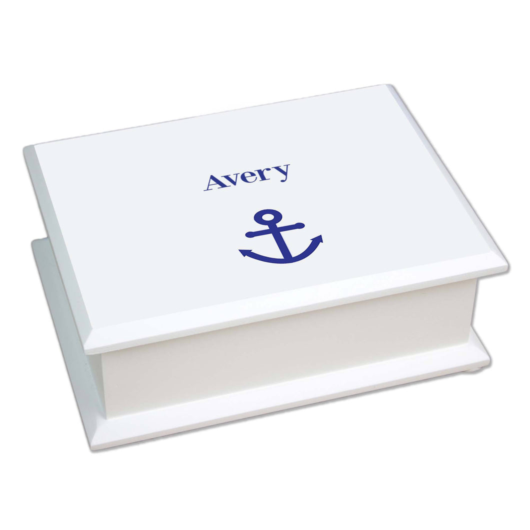 Personalized Lift Top Jewelry Box with Single Anchor design