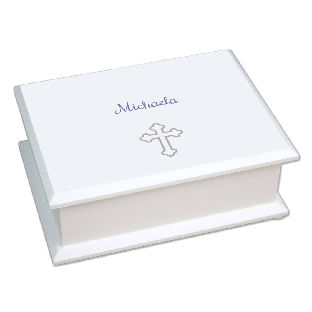 Personalized Lift Top Jewelry Box with Single Cross design