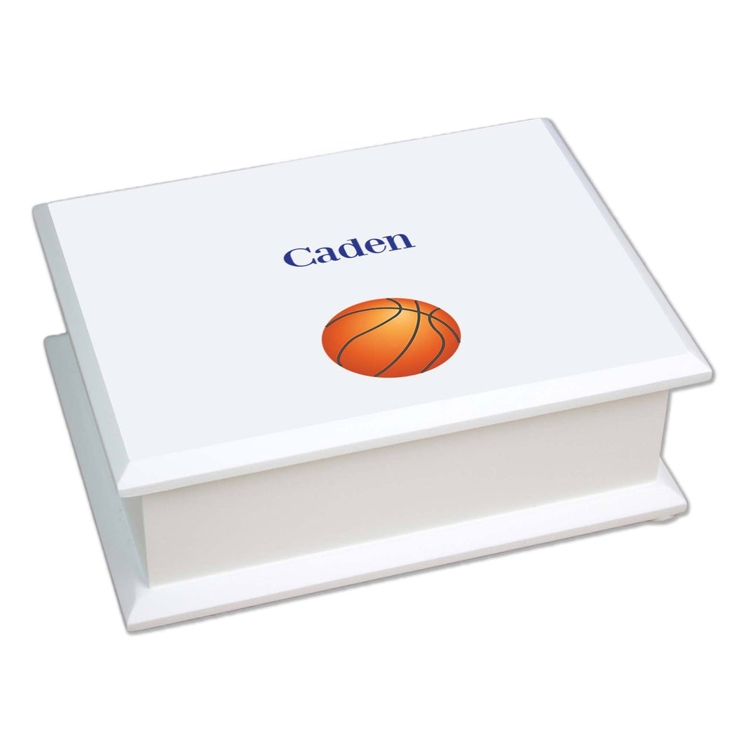 Personalized Lift Top Jewelry Box with Single Basketball design