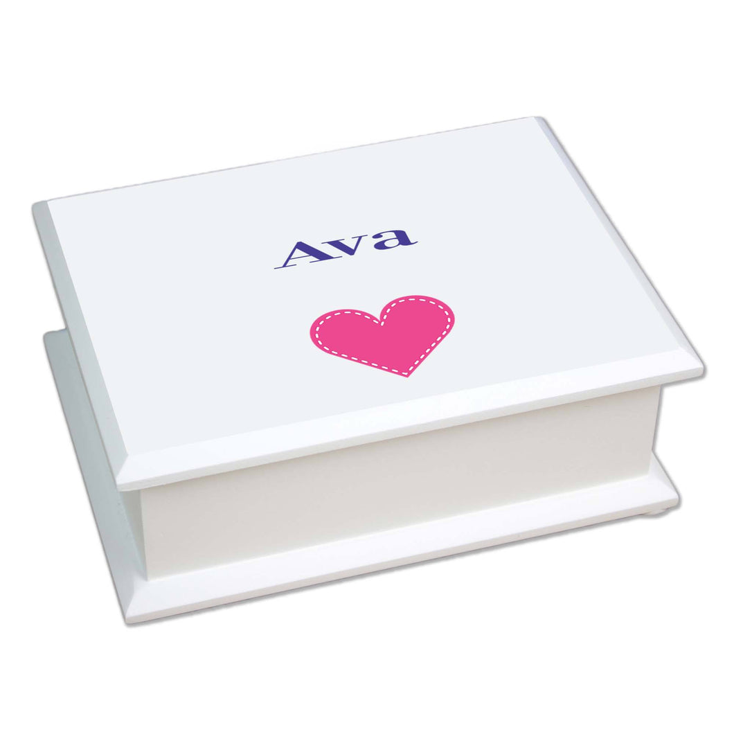 Personalized Lift Top Jewelry Box with Single Heart design