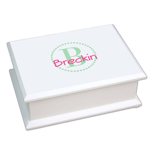 Personalized Mint monogrammed Lift Top Jewelry Box