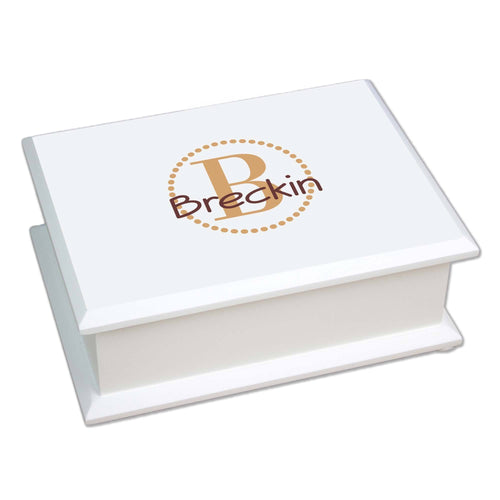 Personalized Brown monogrammed Lift Top Jewelry Box