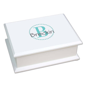 Personalized Teal monogrammed Lift Top Jewelry Box